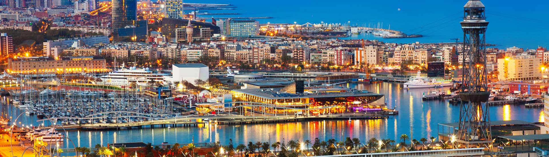 Top view of Port in Barcelona during evening. Catalonia,